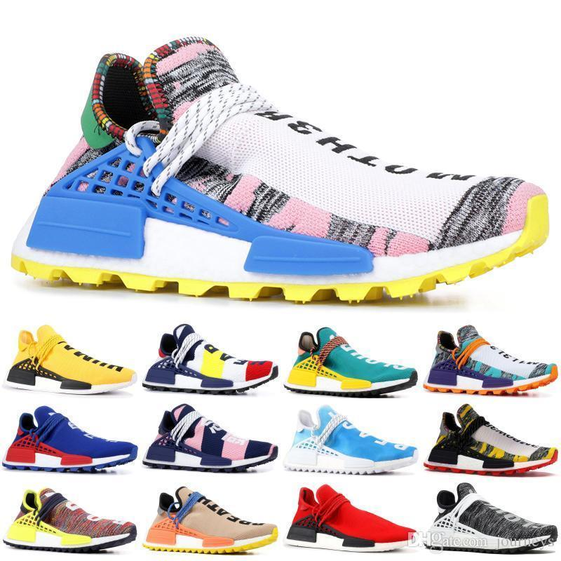Pharrell NMD Human Race 2019 Williams Men Running Shoes PW HU Holi MC Tie Dye Equality Designer women01 Sport Sneakers