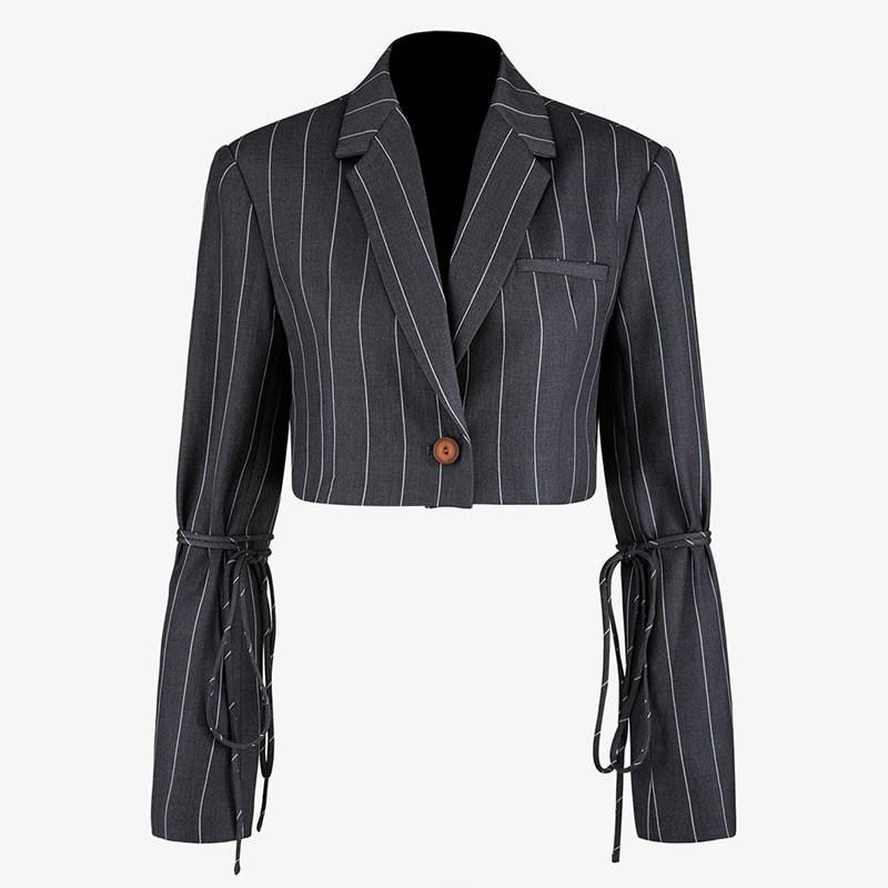 TVVOVVIN Tide Patchwork Striped Bandage Gray Blazer Fashion Vintage Slim Notched Collar Single Breasted Short Coat Top New F730