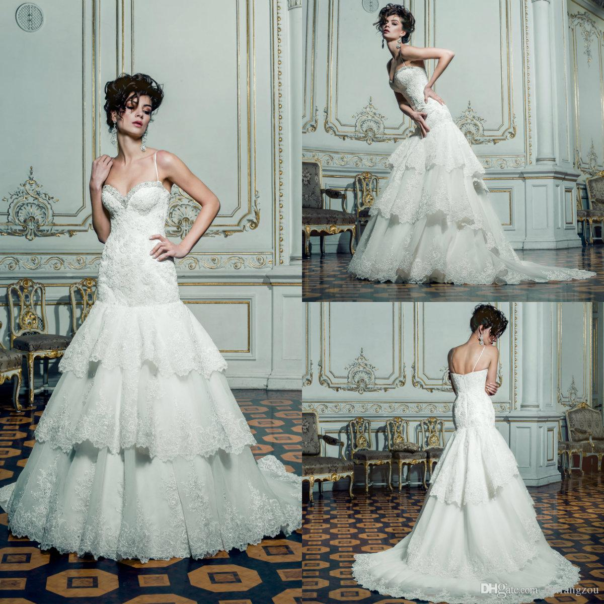 d08e6f0c27f ... Wedding Dresses Spaghetti Straps Lace Beaded Bridal Gowns With Tiered  Skirts Louise Sposa Plus Size Wedding Dress Wedding Party Dresses Affordable  ...