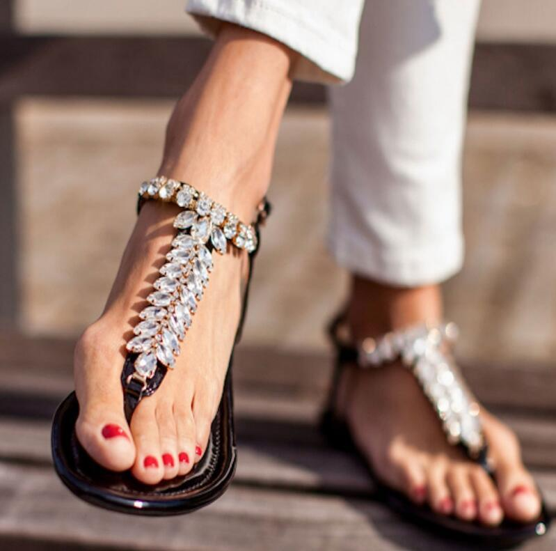 women summer beach sandals flats rehinstone shoes woman zapatos mujer ladies flip thong shiny crystal chaussure femme D33048