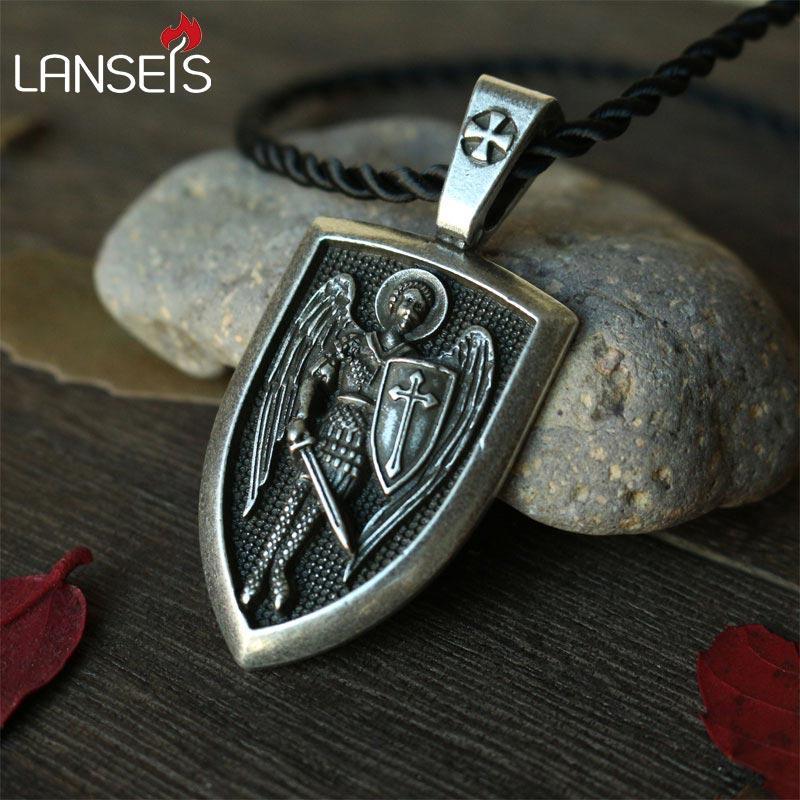 Wholesale Lanseis Dropshipping Men Necklace Archangel St Michael
