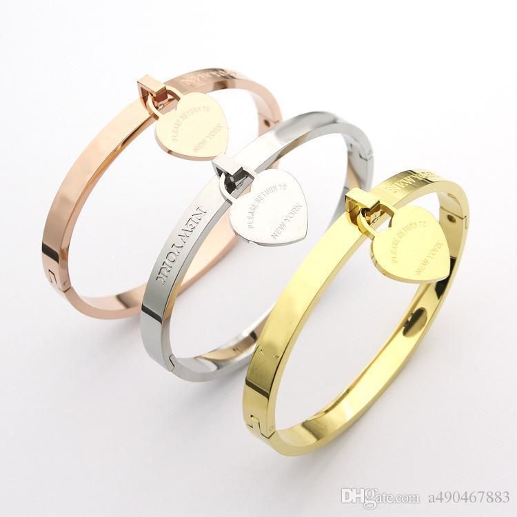 New hot fashion brand high quality titanium steel bracelet 18K gold rose silver heart-shaped bracelet for fashion men and women and couples