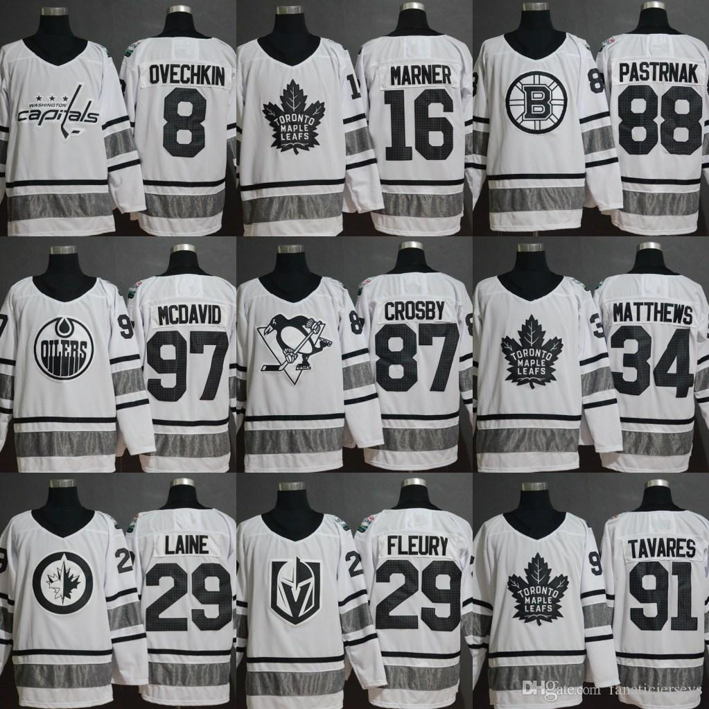 check out a30fb 5f365 Mens 2019 All Star Game White Jersey 19 Jonathan Toews 87 Sidney Crosby 13  Johnny Gaudreau 70 Braden Holtby 29 Patrik Laine Hockey Jerseys