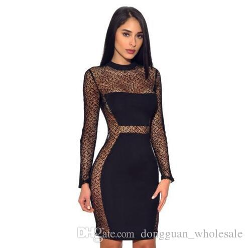 562dad03630 Hot Sale Women Sexy See Through Lace Dress 2019 Back Zip Long Sleeve Mini  Dress Spring Black Party Club Pencil Dress White Dress Party Dresses For  Womens ...