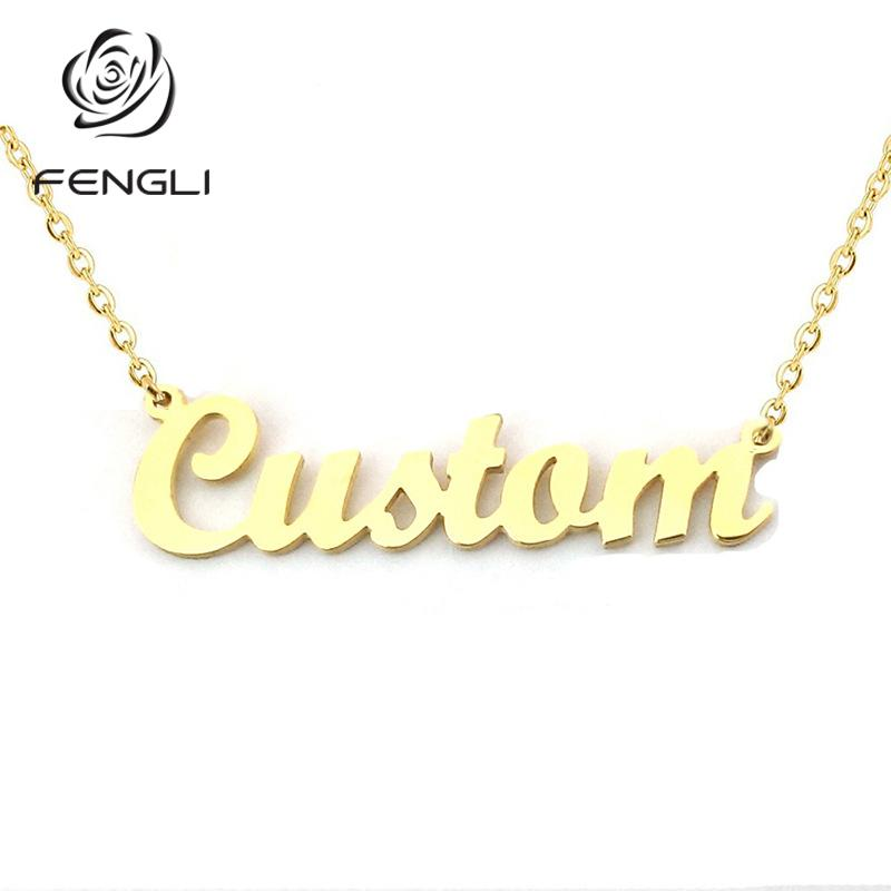 FENGLI Personalized Name Necklace Customized Fashion Silver Gold Color  Pendant English Name Font Custom Jewelry
