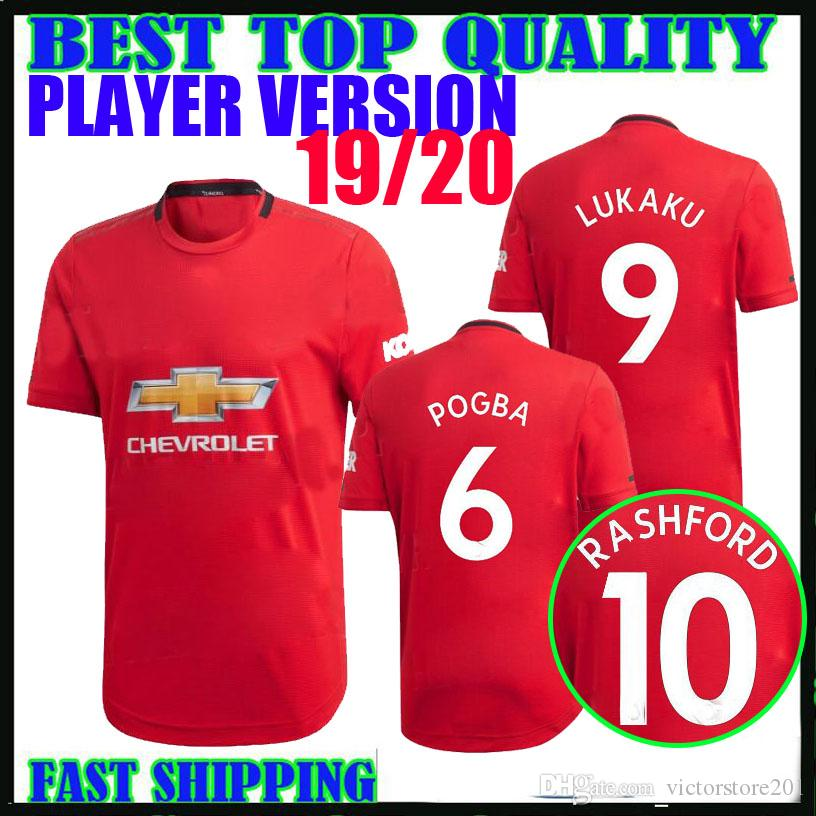 player version 19 20 manchester lukaku soccer jersey home 2019 2020 united pogba alexis RASHFORD LINGARD camisetas football shirts thailand