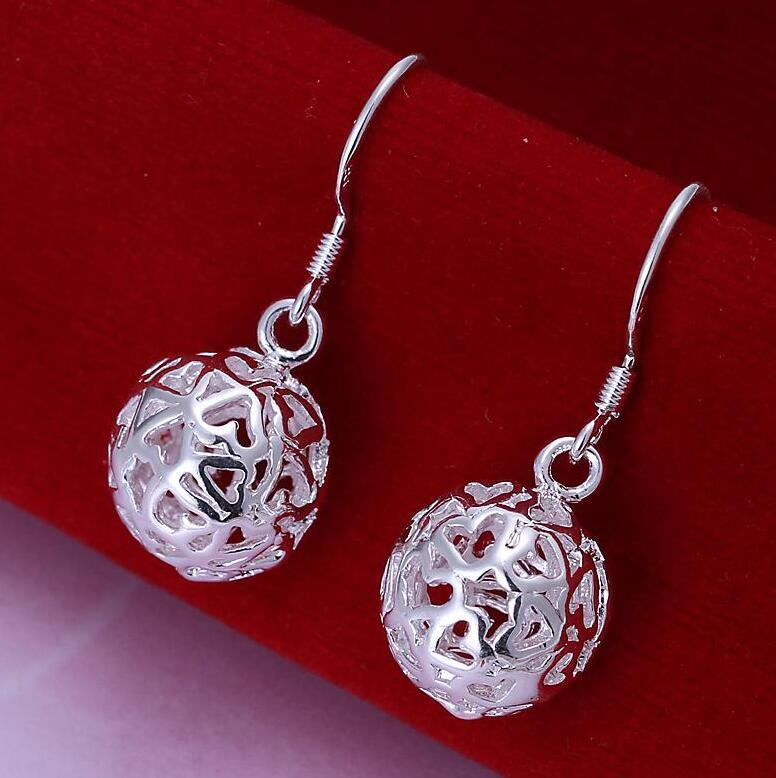 925 Silver Plated Earring Lovely Stereo Ball Fashion Lady Jewelry High Quality Mix Styles Best Holiday Christmas Gift -P