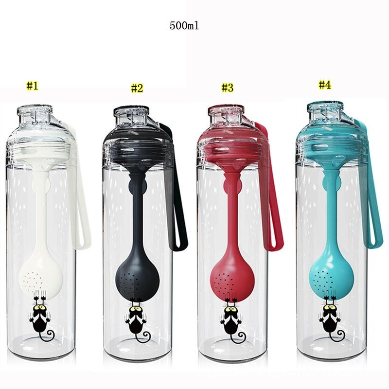 Tea Water Separation Cup Multi-function Shake Cup Tea Separation Bottle with Spoon Plastic Milkshake Mixing Cup MMA1953