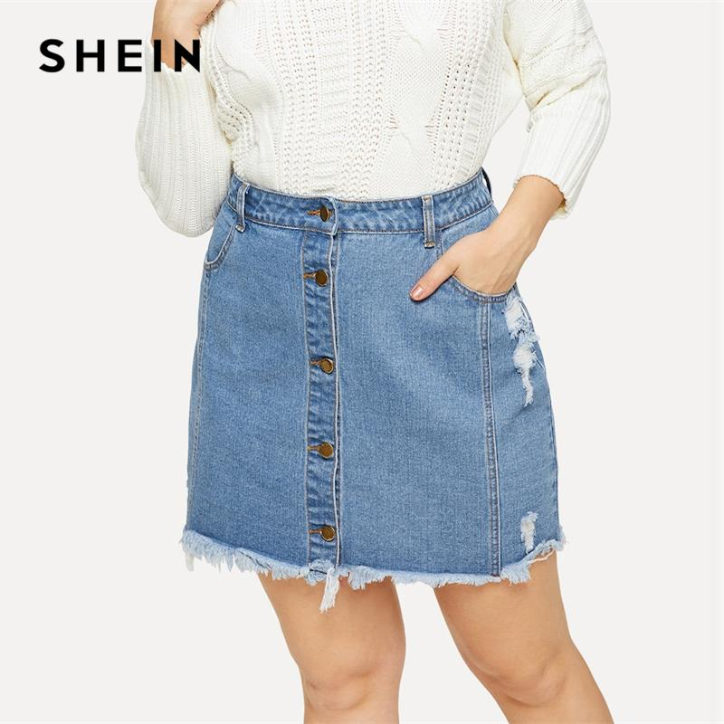 46feac1df3550 2019 SHEIN Plus Size Blue Button Up Raw Hem Short Bodycon Skirt Office Lady  Minimalist Elegant Solid Weekend Casual Pencil Skirts From Happylights, ...