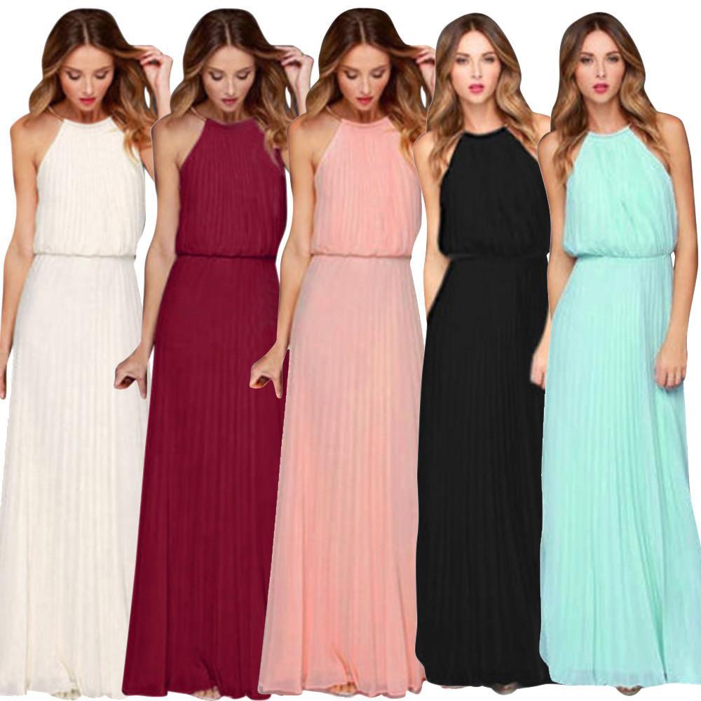 6045d0767d14 Vestidos casuales de verano para mujeres Formal de gasa sin mangas Prom  fiesta de noche Vestido largo largo en cinco colores de alta calidad