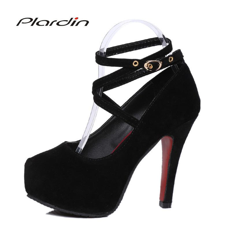 ad1742d55 Dress Shoes Plardin Woman Pumps Cross Tied Ankle Strap Wedding Party  Platform Fashion Women High Heels Suede Ladies Leather Shoes Moccasins For  Men From ...