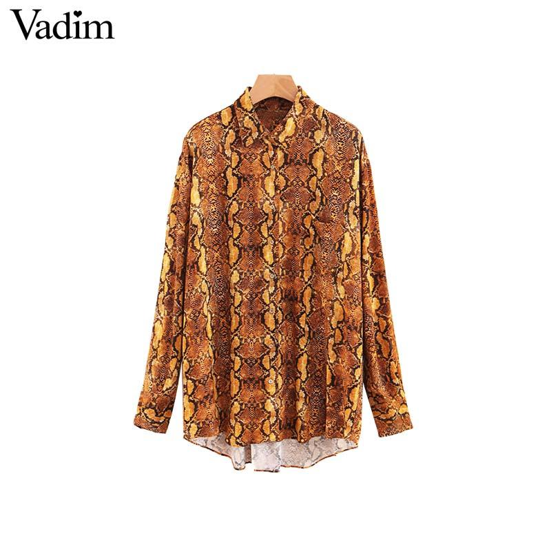 f4ee935743531 Vadim women vintage snake print loose blouse pocket long sleeve basic shirt  ladies casual streetwear oversized tops blusas
