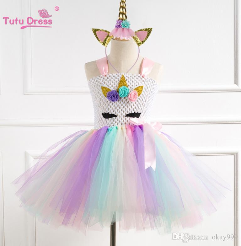 1f70f2b0a43f1 Flower Girls Unicorn Tutu Dress Pastel Rainbow Princess Girls Birthday  Party Dress Children Kids Halloween Unicorn Costume 1-12Y
