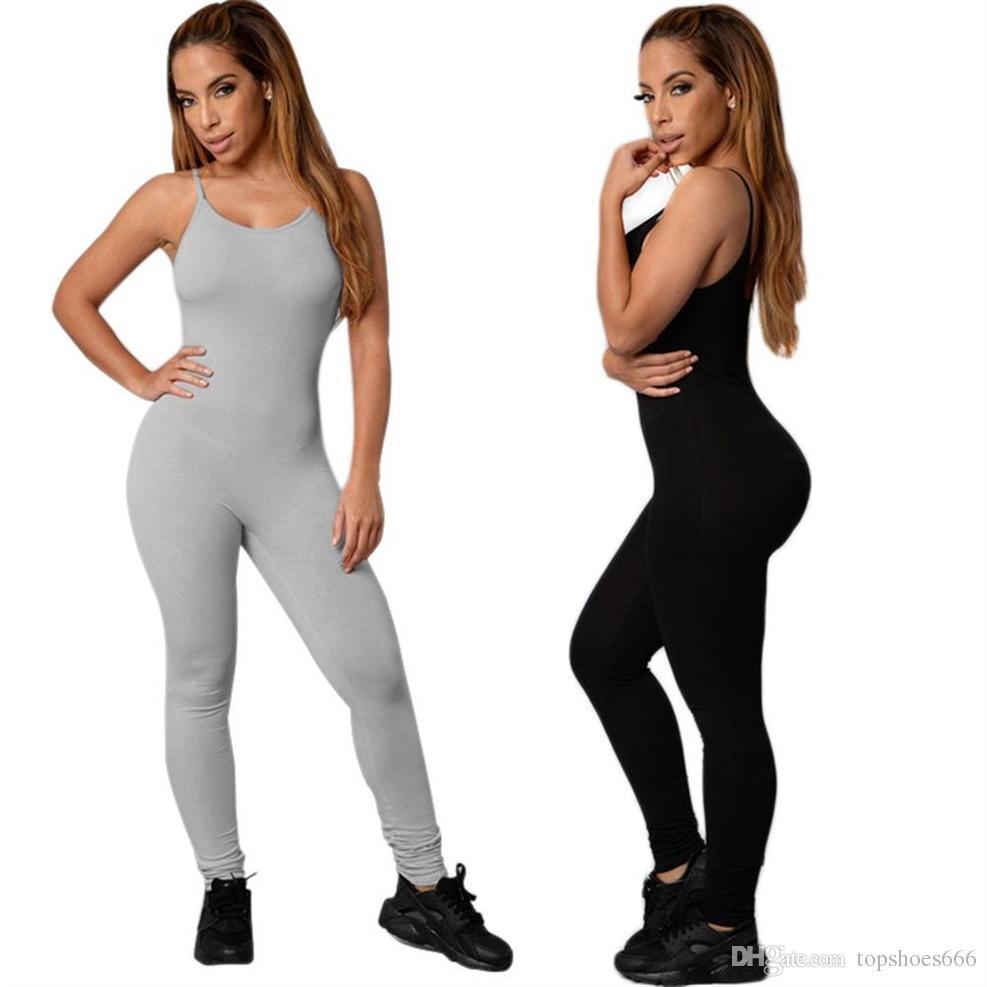45eb9dea34bb Negro gris de una sola pieza de yoga monos deportivos mujeres sexy sin  mangas ropa de gimnasia femenina sexy corriendo delgado deporte trajes de  baile ...