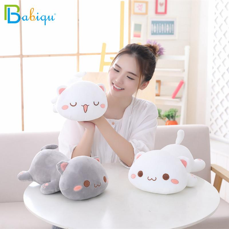 1pc 35 / 50cm Kawaii Lying Cat Peluches de Peluche Lindo Emoji Cat Doll Lovely Animal Almohada Cojín de Dibujos Animados Suave Regalo de Navidad para Niños