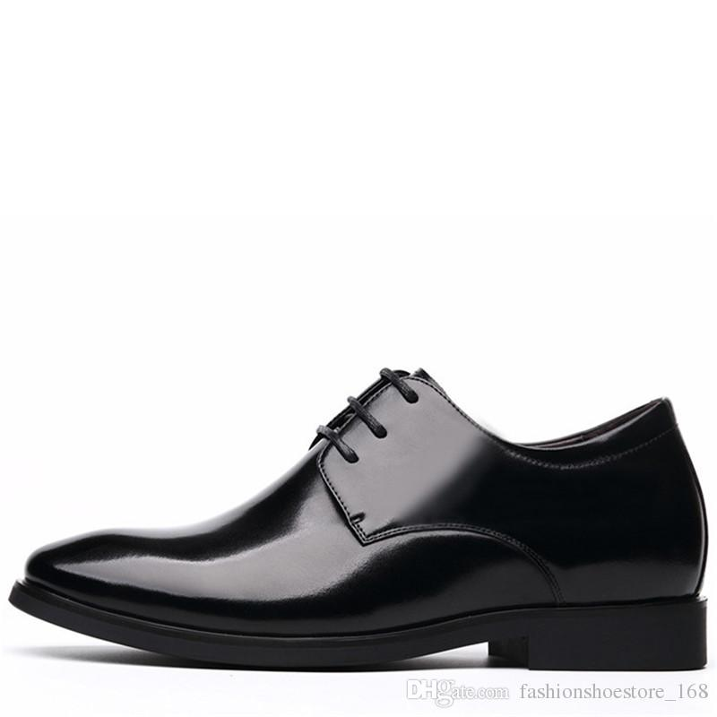 b4a5504a77a Luxury Brand Classic Height Increasing 6CM Man Pointed Toe Dress Shoes Mens  Genuine Leather Wedding Shoes Oxford Formal Shoes Men