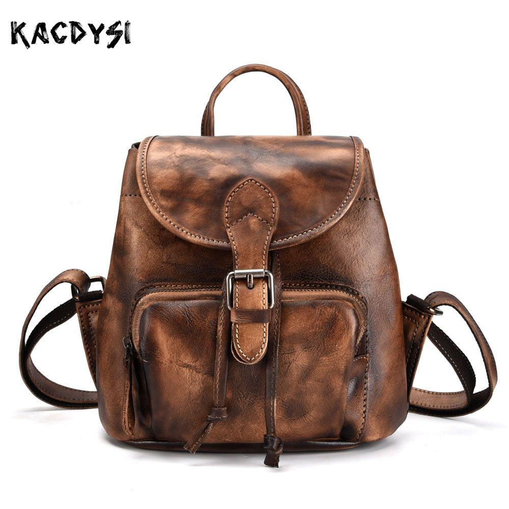 d56efa8ad640 Handmade Vegetable Tanned Leather Small Women Backpack Vintage Brush Color  Girls Bookbags Fashion Travel Bag