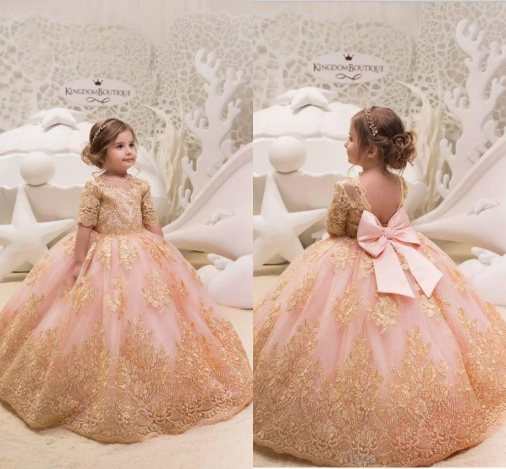 2019 new princess gold appliques kids flower girl dresses