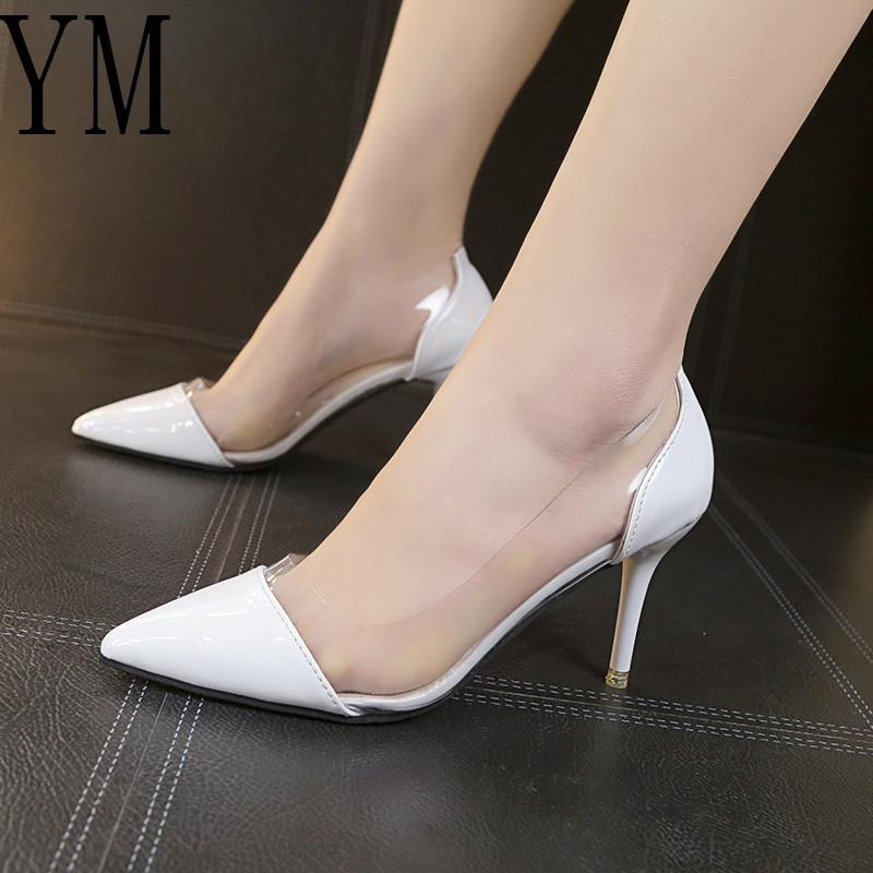 2019 Dress 2018 Latest Fashion Women THIN High Heels Luxury Brand Exclusive  Leather And PVC Pointed Toe Pumps Dress Shoes 8CM Size 34 39 Mens Dress  Boots ... b1b553e6c3ee