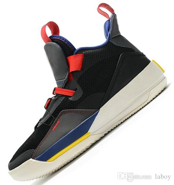 the best attitude 893a1 77afe Großhandel Nike Air Jordan Retro 2019 Jumpman XXXIII 33 Herren Basketball  Schuhe Fashion 33s Multicolors Schwarz Gelb Blau Grün Trainers Designer  Sneakers ...