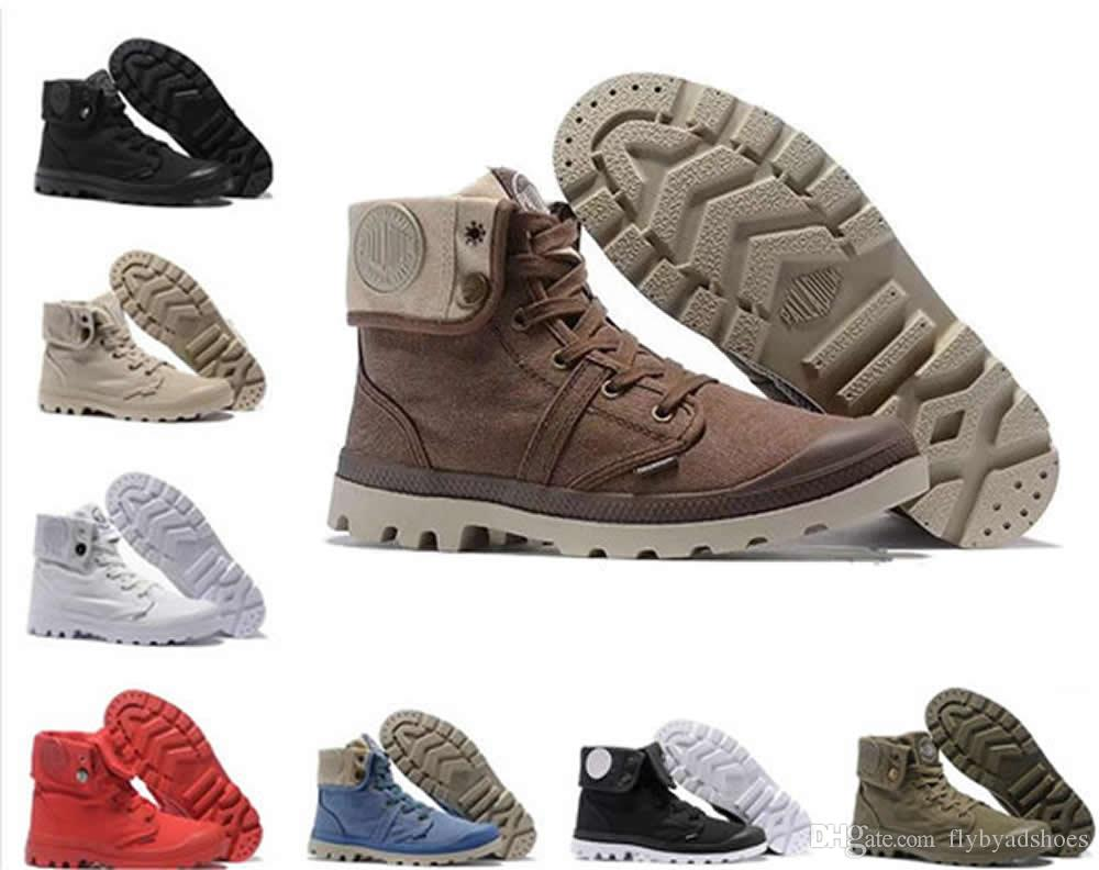 1f54924c75 Hot Sale Designer Shoes PALLADIUM Pallabrouse Men High Top Army Military  Ankle Boots Canvas Sneakers Casual Shoes Man Anti Slip Sport Shoes Boots  For Girls ...