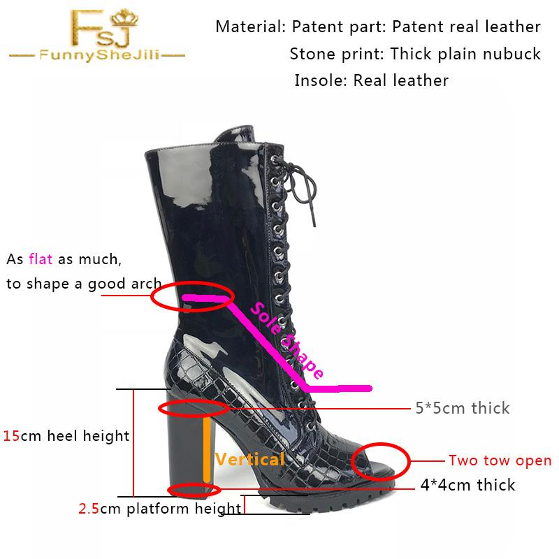 Customization Peep Toe Calf Boots Lace Up Low Platform Chunky Heel A Flat Heel Top for A Strong Arch
