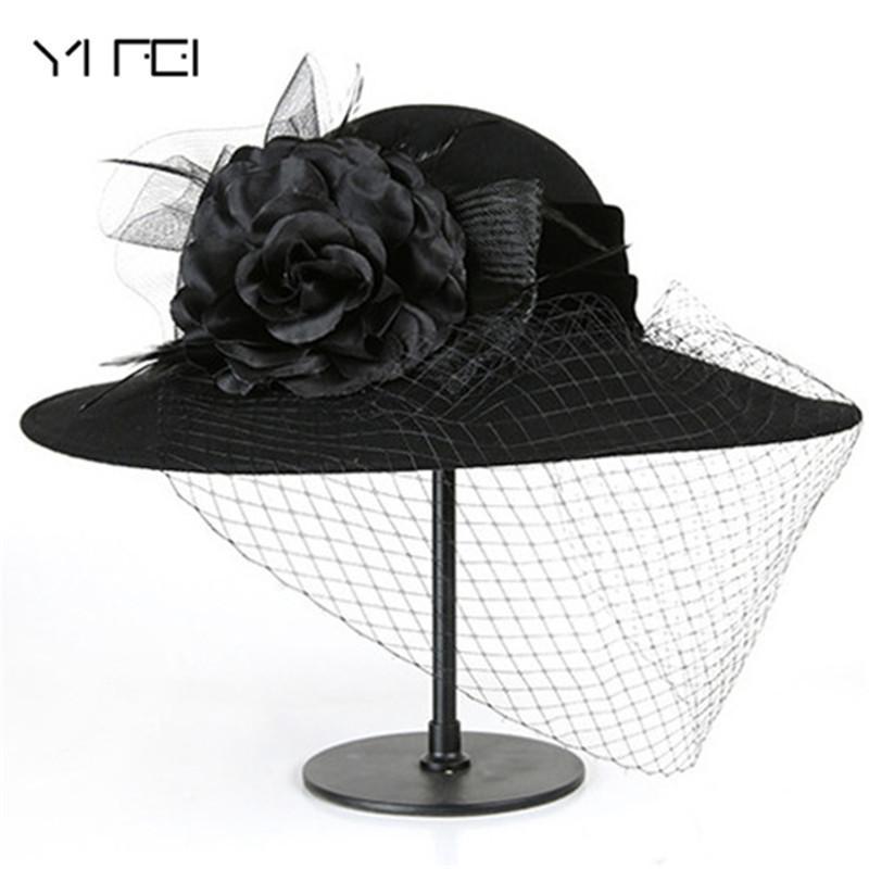 d056874f0226d 2019 Women 100% Wool Felt Hats 1920s Vintage Flower Bucket Hats Elegant  Fashion Classic Chapeau Veil Formal Hat From Breeches