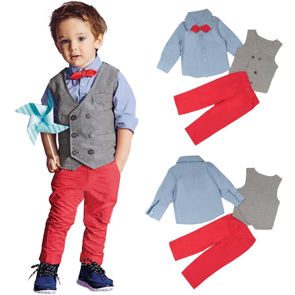 1ecd0a6383db7 Acheter Coton De Mode Gentleman Style Printemps Automne Enfants Garçons  Vêtements Ensemble Outfits Ensemble Gilet + Chemise + Pantalon Pantalon /  Ensemble ...