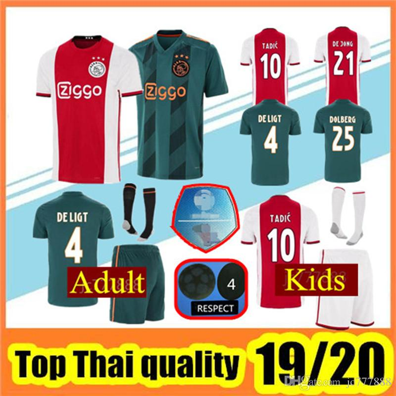 2497f71f 2019 2020 Ajax FC home Away Soccer Jerseys kids uniforms 18 19 20 DOLBERG  ZIYECH HUNTELAAR YOUNES MEN ajax Football Shirt kit with socks