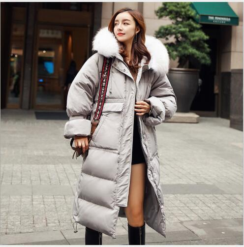 0809afcdaaf 2019 Winter Long Down Parka 2018 New Women Slim Fit White Duck Down Warm  Snow Jacket Outdoor Female Thickening Fur Collar Hooded Coat From Vikey16