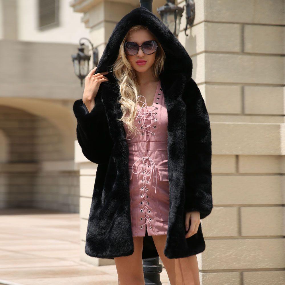 c9f1443fb5 Fashion Womens Hooded Warm Elegant Faux Fur Coat Fur Jacket 2018 ...