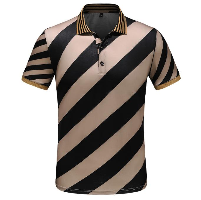 Summer fashion trend men have led short-sleeved T-shirt half-sleeved striped t-shirt lapel youth men's clothing tide