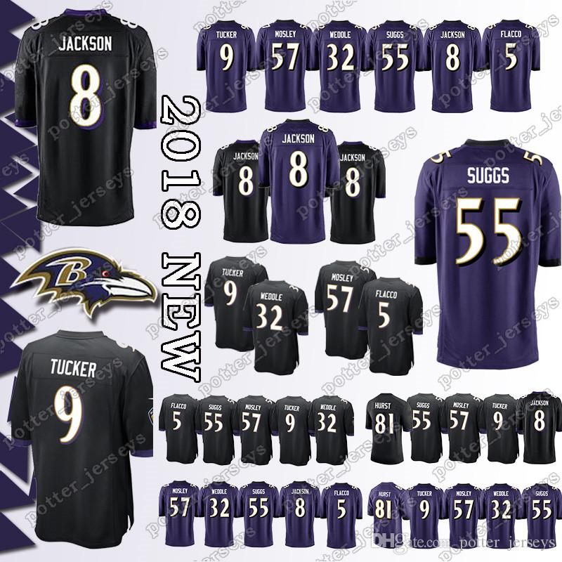 online retailer f6305 a20d8 Baltimore Raven Jersey 8 Lamar Jackson 81 Hayden Hurst 57 C.J. Mosley 32  Eric Weddle 32 Eric Weddle 5 Joe Flacco 9 Justin Tucker Jerseys