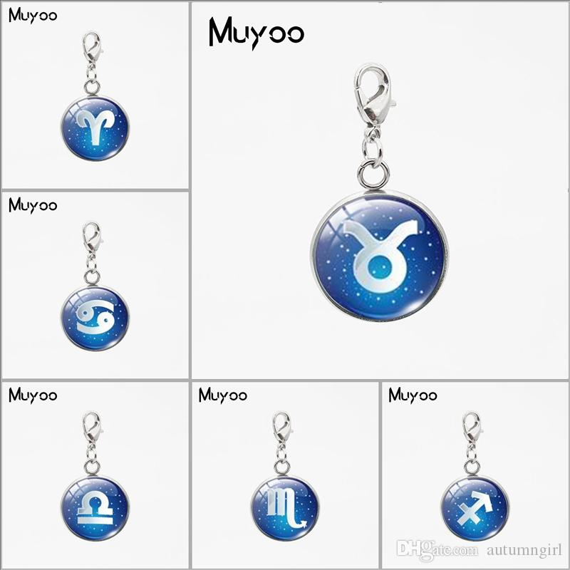 Zodiac Leo Symbol Round Pendant Blue Zodiac Sign Libra Astrology  Sagittarius Horoscope Scorpio Jewelry Stainless Steel Charms