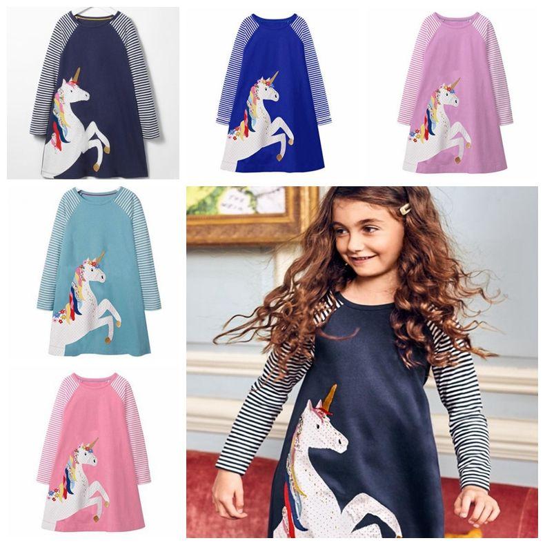 2795025f2 2019 Baby Girl Dress Unicorn Applique Princess Dress Long Sleeve ...