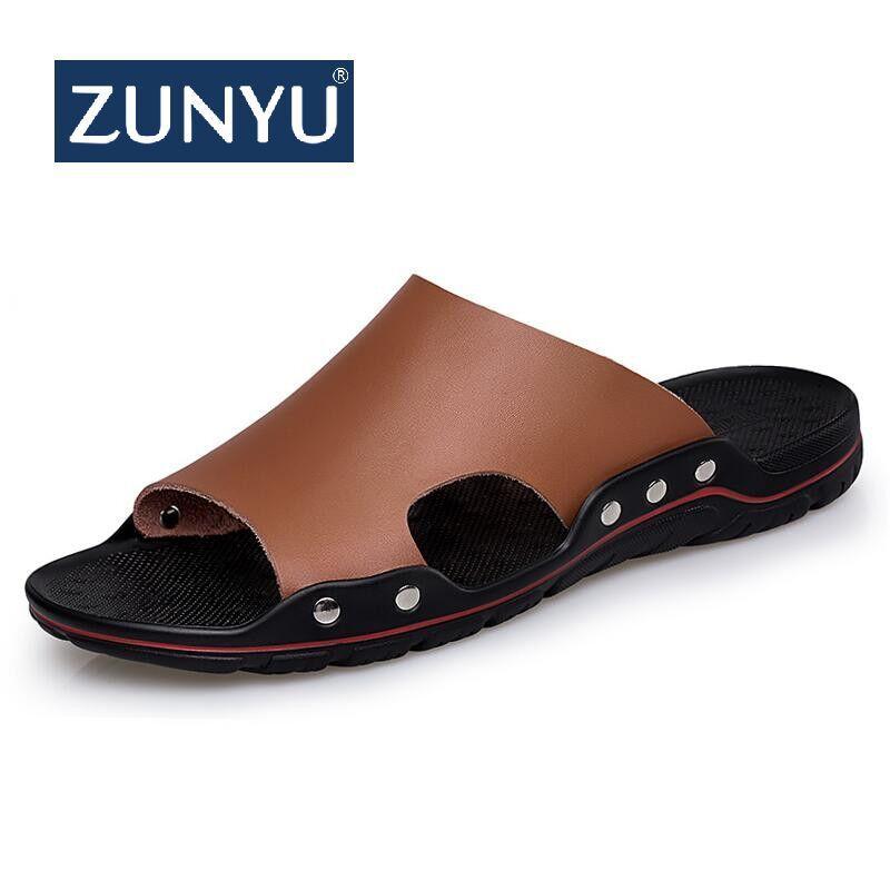 cc2a5f2917de2 Cheap ZUNYU Men Slippers Summer Flat 2019 Summer Man Shoes Breathable Beach  Slippers Split Leather Flip Flops Mens Size 38-48