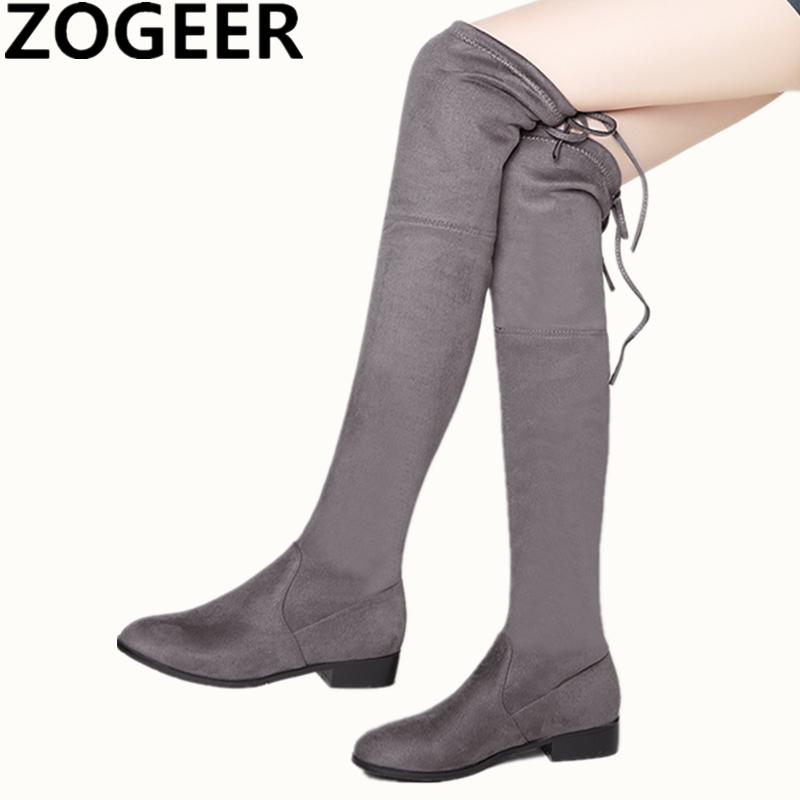 Low Heels Thigh High Boots Women Faux Suede Over The Knee Boots Comfort  Fall Winter Fashion Shoes Woman Black Gray Red Brown Low Boots Cheap Shoes  Online ... d2efec201