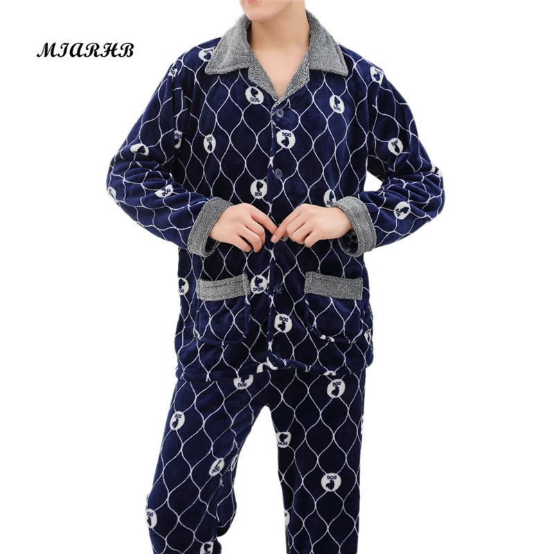 8339cec129 Compre Sunfree 2019 Novo Inverno Pijama Homens Grosso Conjuntos De Pijama  De Lã De Luxo Quente Sleepwear Ternos Xadrez Man Casual Roupas Em Casa 3L45  De ...