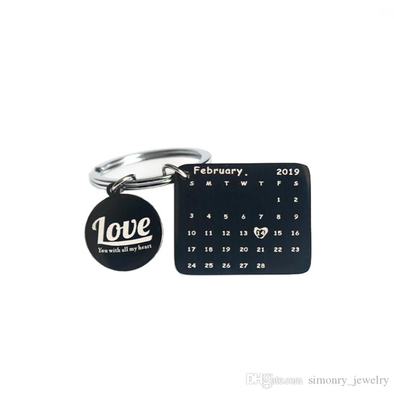2019 Valentine S Day Calendar Keychain New Arrival Black Silver