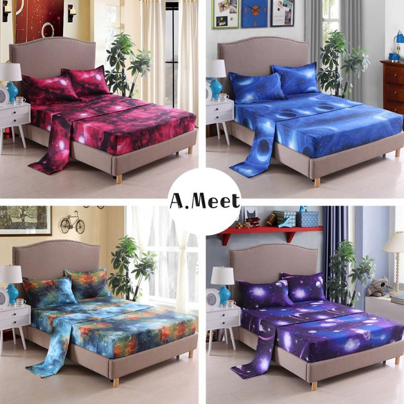 3D Bedding Set Galaxy Printed Flat Sheets Twin Full King Queen Size Bed Sheets Set Fitted Sheet Elastic Korean Funny For Boys