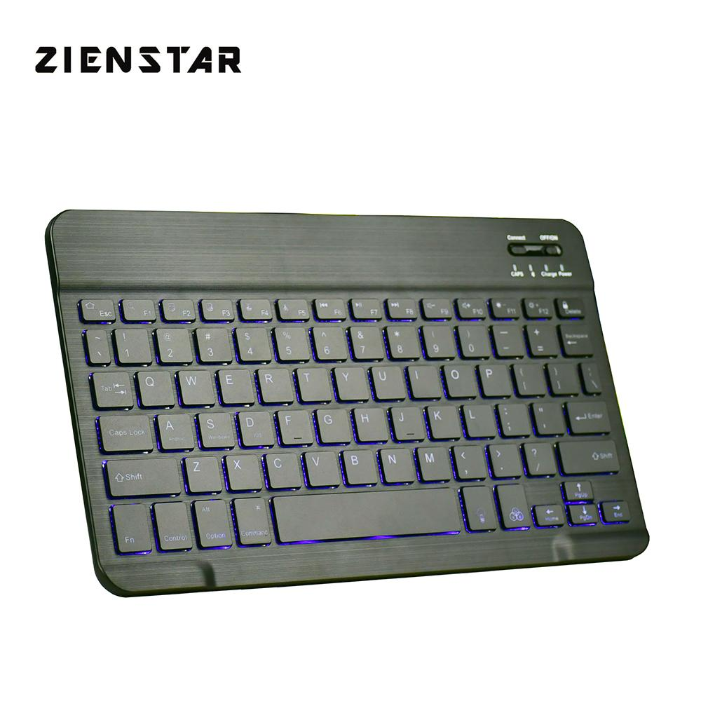 Zienstar Ultra Slim Wireless Bluetooth KEYBOARD with7 Colors LED BackLight  for IPAD/Iphone/Mac/LAPTOP/DESKTOP PC/TABLET,English