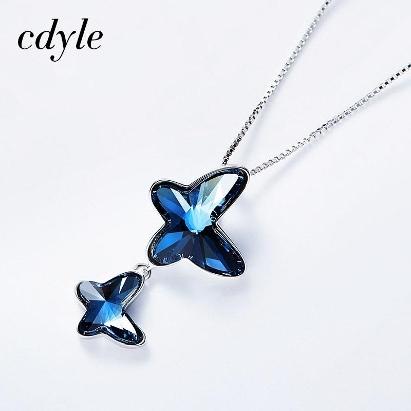 b64426acb DHgate Crystals from Swarovski Necklace Women Pendants S925 Sterling Silver  Jewelry Blue Fashion Butterfly Shape Jewelry High Quality Fashion Jewe  China ...