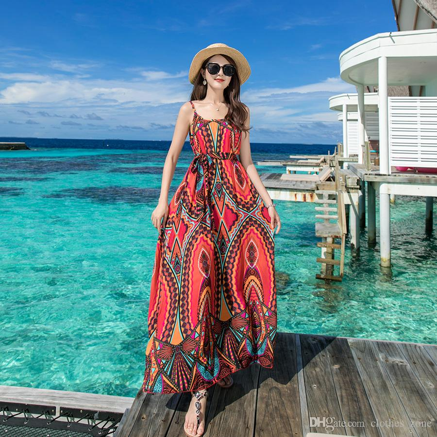 1f58d922a2 Holiday Dresses For Women 2019 New Summer Yellow Square Print Spaghetti  Strap Boho Tailand Vacation Beach Dress 3900 Evening Gowns Dresses White  Dress For ...