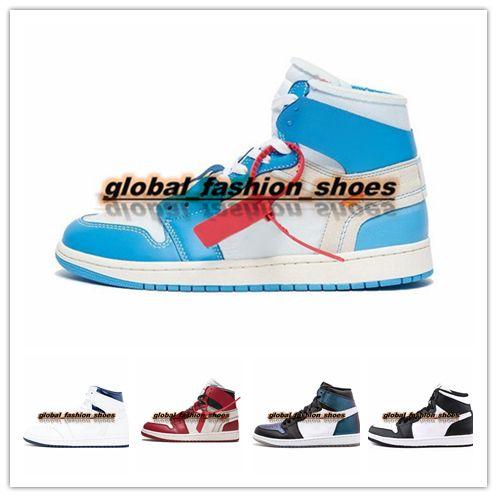 size 40 a2cab 89014 Nike Air Jordan Off White Shoes AJ 1s 2018 Nueva Llegada De OG Top 1 Hombres  Negro Oro 1s Zapatillas De Deporte De Alta Calidad NUC Al Aire Libre Para  ...