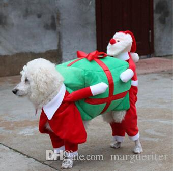 Christmas Dog Apparel Funny Pet Clothes Creative Cartoon Santa Claus And Gift Box Decoration Four Feet Dog Puppy Costumes