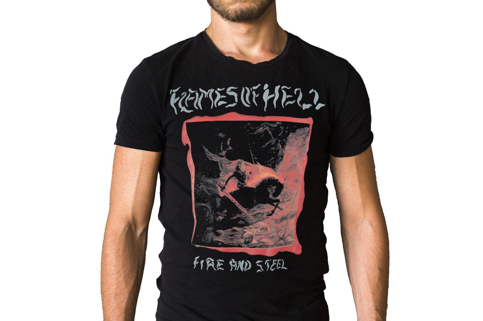 Flammes de l'enfer Fire and Steel 1987 Couverture d'album T-shirt Taille Discout Chaud Nouveau T-shirt Fan Pantalon T-shirt