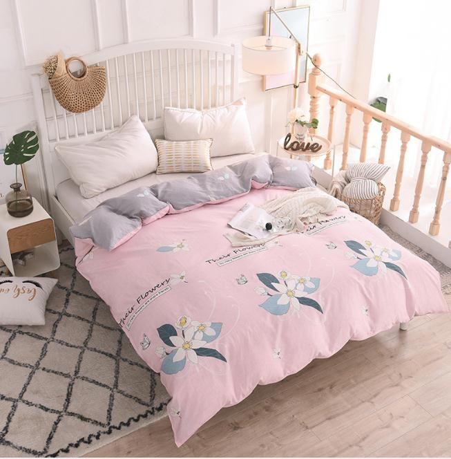 Acheter Rose Gris Coton Housse De Couette Couette Couverture Literie  Couette Dans La Chambre À Coucher Textiles À La Maison 1.5m 1.8m 2.0m 2.2m  Beding De ...