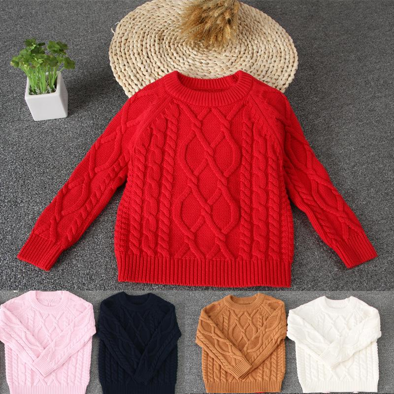 Autumn Baby Sweater Knitted Baby Boys Girls Toddler Solid Sweaters