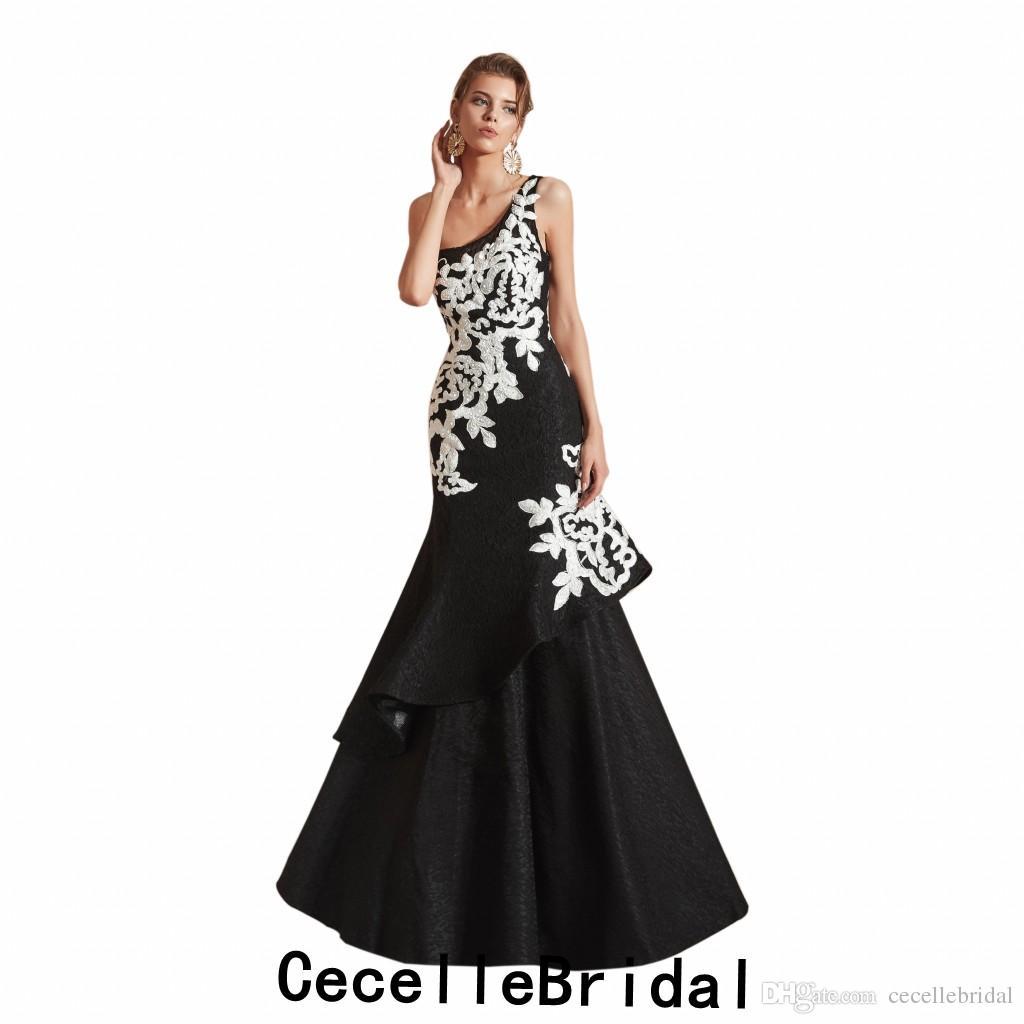 new arrival 453a6 dc50e 2019 in bianco e nero sirena lungo Dubai donne abito da sera 2019 una  spalla perline pizzo donne abiti da sera formale del partito