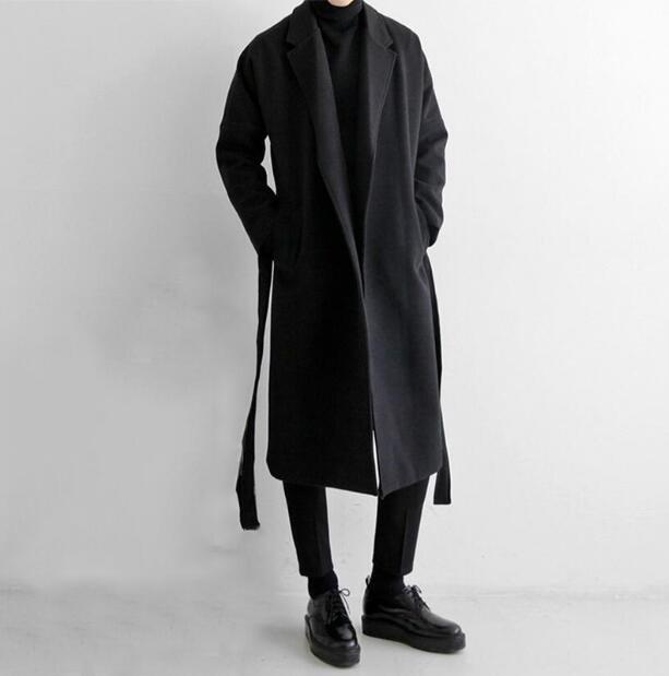 Men's autumn and winter windbreaker men's long woolen coat trend Korean version of the loose knee off shoulder woolen coat